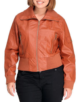 Basic Essentials - Batton Bomber Vegan Leather Jacket (plus)