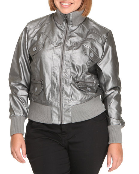 Basic Essentials Women Silver Galaxay Metallic Bomber Jacket (Plus)