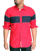 Nautica - Tencel Basketweave Colorblock Long Sleeve Button-Down
