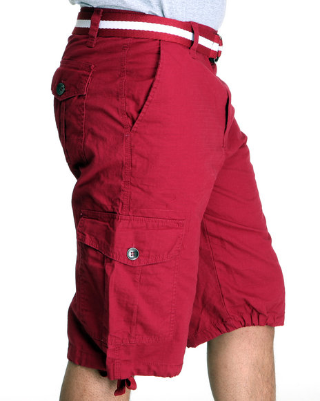 Southpole Men Red Basic Cargo Shorts