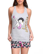 Women - Betty Boop Racer Back Knit Tank Shorty Set