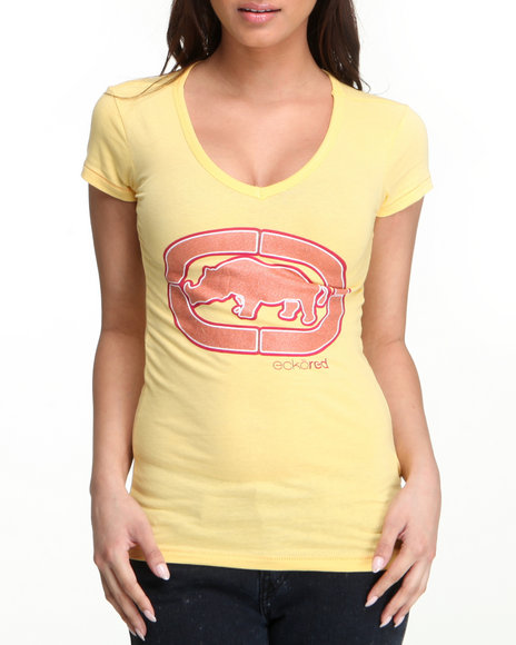 Ecko Red Women Yellow V-Neck Tee