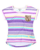 Girls - Striped Dolman Top (7-16)