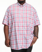 Shirts - Poplin S/S Plaid Button Down (B&T)
