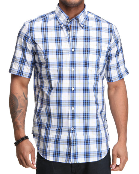 Nautica Men Blue Poplin Ss Plaid Button Down