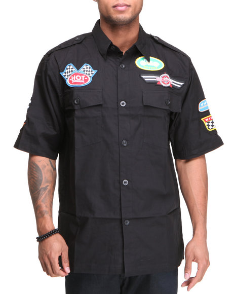 Basic Essentials Men Black Racing Short Sleeve Button Down Woven Shirt