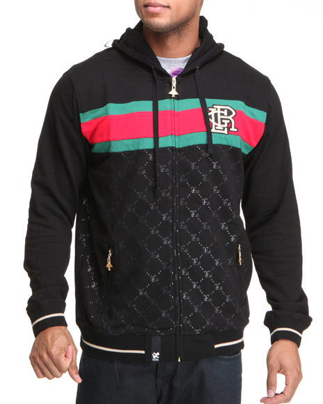 Lrg Men Black 47 Grams Zip Front Hoodie