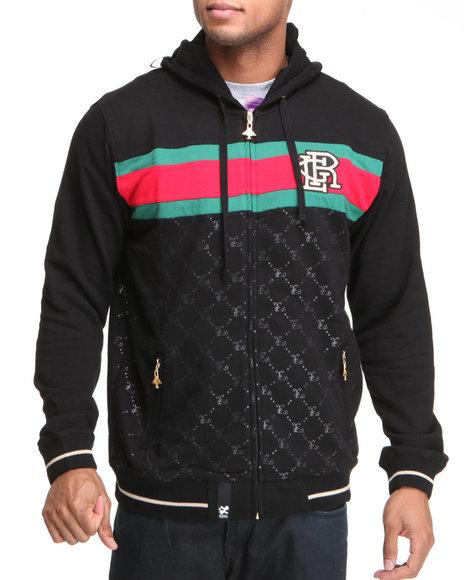 LRG Men Black 47 Grams Zip Front Hoodie
