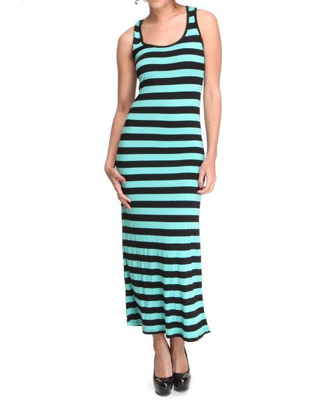 Basic Essentials Women Kaila Striped Maxi Dress Black Small