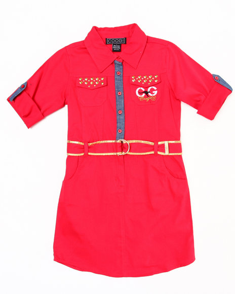 COOGI Girls Red Belted Woven Dress (7-16)