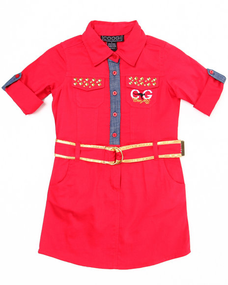 COOGI Girls Red Belted Woven Dress (4-6X)