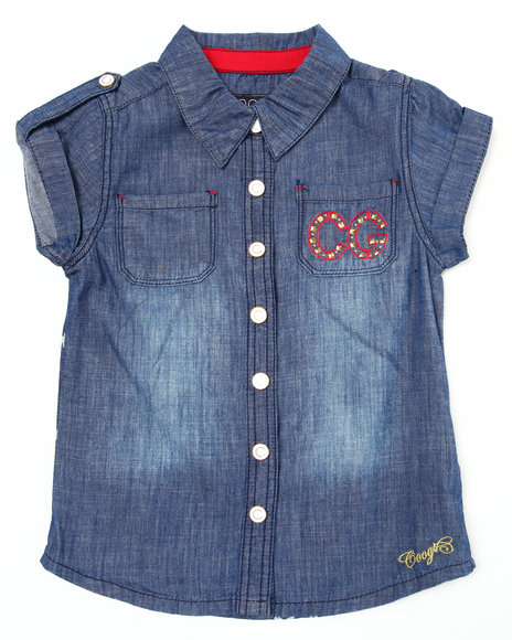 COOGI Girls Dark Wash S/S Chambray Woven (7-16)
