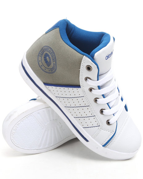 Akademiks Boys White,Blue Perforated Hi Top Sneaker (3.5-7)