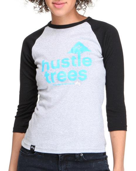 LRG Women Black,Grey Lrg Hustle Trees Baseball Tee