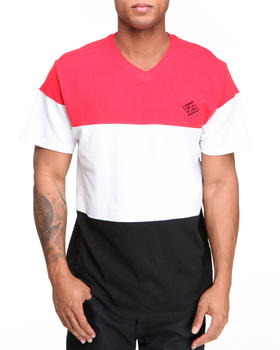 Enyce - Color Block Solid Short Sleeve V-Neck