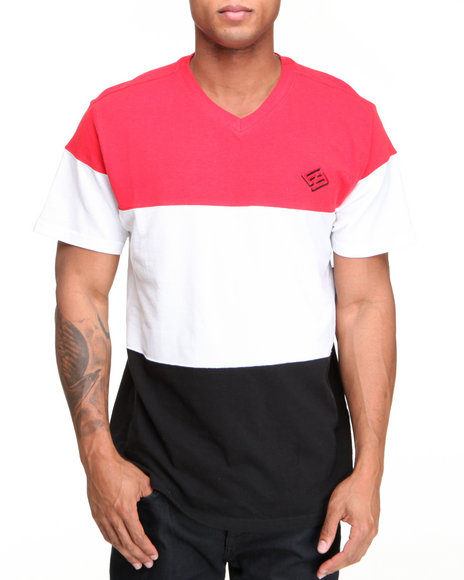 Enyce Men Red Color Block Solid Short Sleeve V-Neck