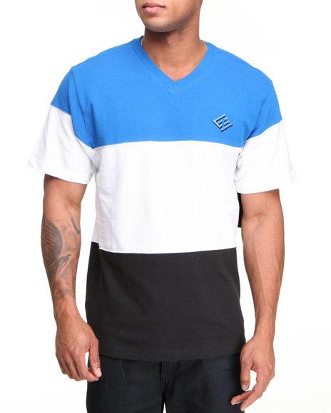 Enyce Men Blue Color Block Solid Short Sleeve V-Neck
