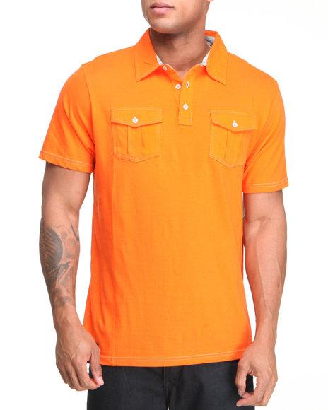 Company 81 Men Orange S/S Dual Chest Pocket Polo Shirt