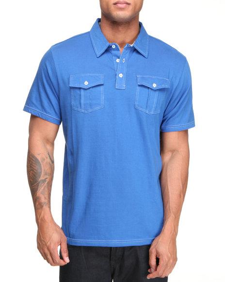 Company 81 Men Blue S/S Dual Chest Pocket Polo Shirt