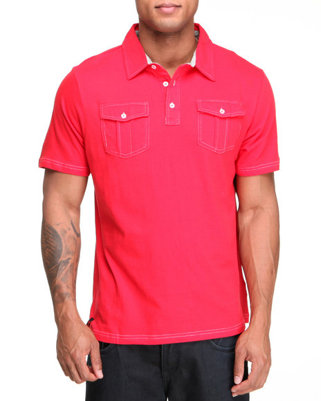 Company 81 Men Red S/S Dual Chest Pocket Polo Shirt