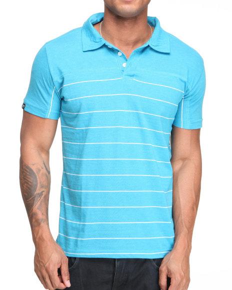 Company 81 Men Blue Heathered Jersey Striped Polo Shirt