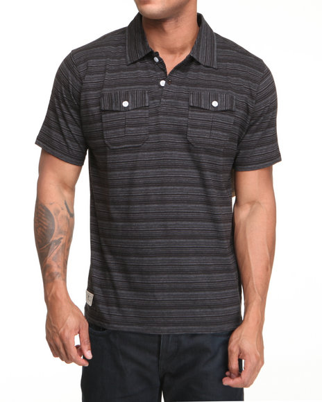 Company 81 Men Black Dual Pocket Thin Striped Polo Shirt
