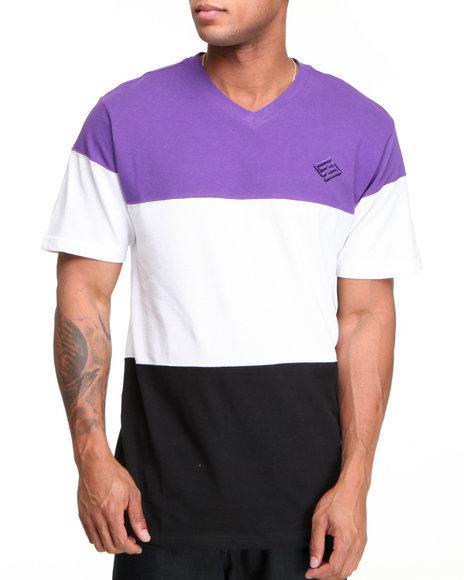 Enyce Men Purple Color Block Solid Short Sleeve V-Neck