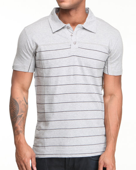 Company 81 Men Grey Heathered Jersey Striped Polo Shirt