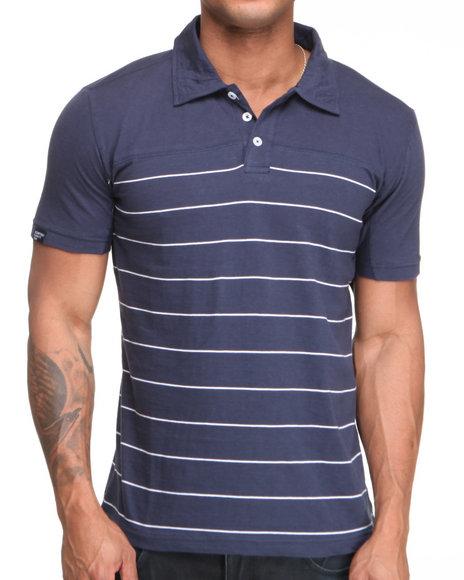 Company 81 Men Navy Heathered Jersey Striped Polo Shirt