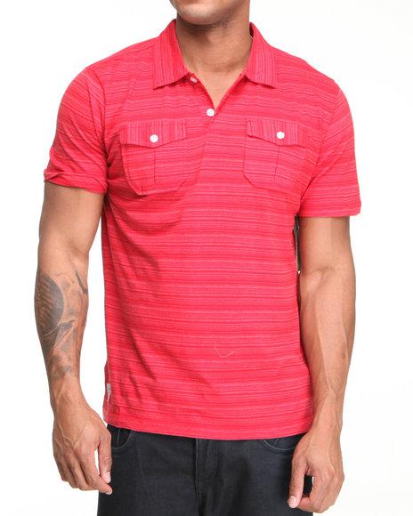 Company 81 Men Red Dual Pocket Thin Striped Polo Shirt