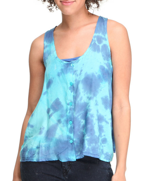 Basic Essentials Women Green Tye Dye Tank Top