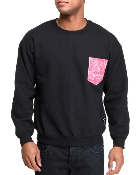 Buyers Picks - Men Multi Pink Rose Crewneck Sweatshirt