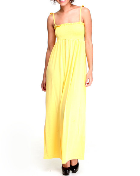 Basic Essentials Women Yellow Tana Basic Maxi Dress W/Ruching