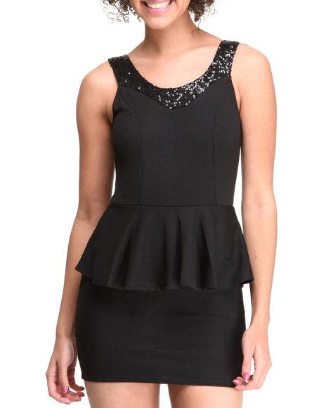 Fashion Lab - Women Black Lilian Peplum W/Sequins