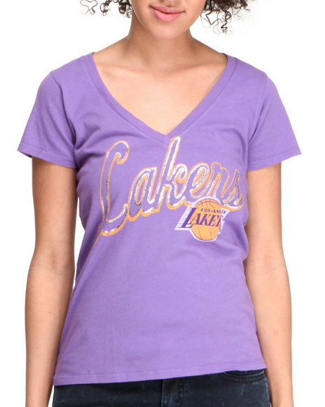 Junk Food Women Purple Lakers V-Neck Tee