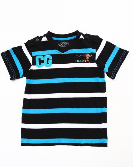 COOGI Boys Black Striped V-Neck Tee (4-7)