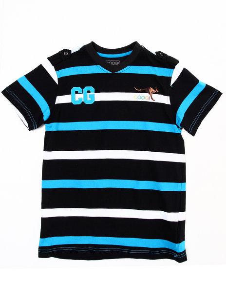 COOGI Boys Black Striped V-Neck Tee (8-20)