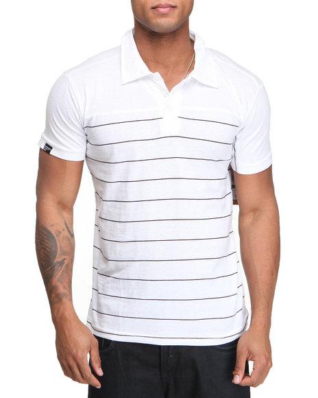 Company 81 Men White Heathered Jersey Striped Polo Shirt