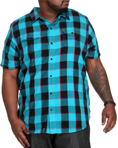 Lrg Men Teal Innovative Essence Short Sleeve Woven (B&T)