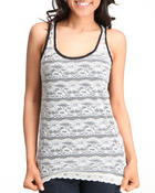 Basic Essentials - Lace Stipe Tank Top
