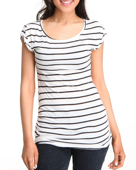 Basic Essentials Women Black,White Myra Top