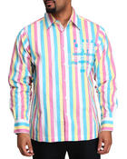 Shirts - Flocked Long Sleeve Woven Shirt