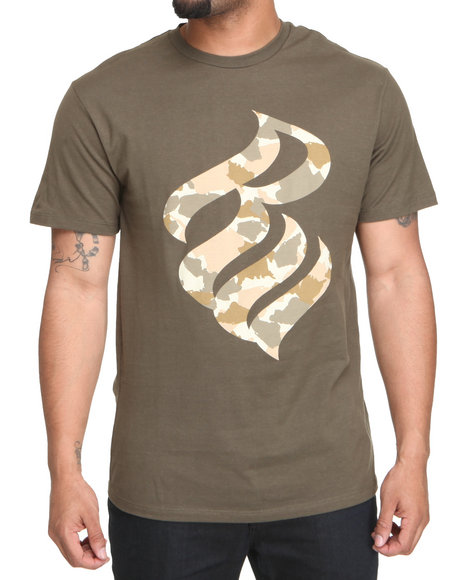 Rocawear Men Brown,Camo,Green Desert Camo Flame S/S Tee