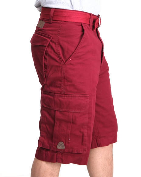 Akademiks - Men Maroon Camper Twill Belted Cargo Shorts