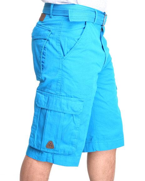 Akademiks - Men Teal Camper Twill Belted Cargo Shorts