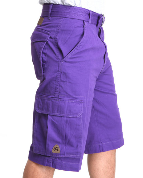 Mens Purple Cargo Shorts