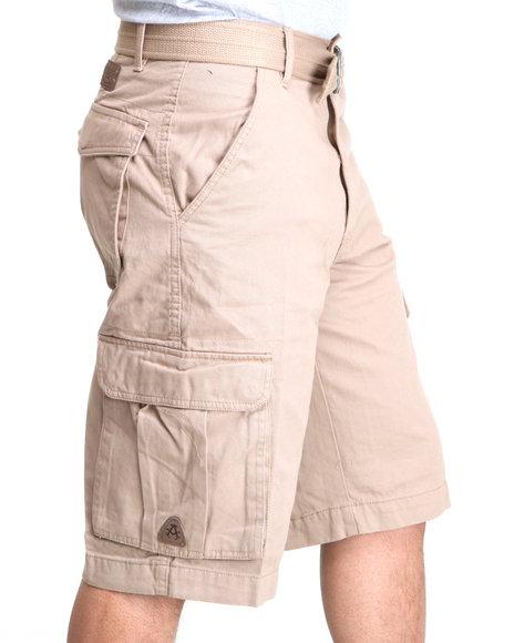 Akademiks - Men Khaki Camper Twill Belted Cargo Shorts