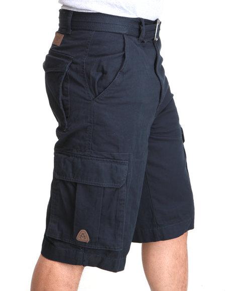 Akademiks - Men Navy Camper Twill Belted Cargo Shorts