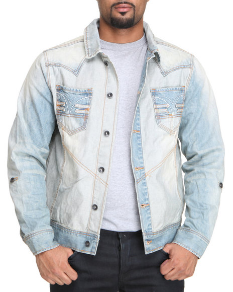 Rocawear Men Light Wash On & On Denim Jacket