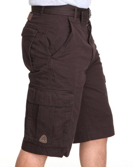 Akademiks Men Brown Camper Twill Belted Cargo Shorts